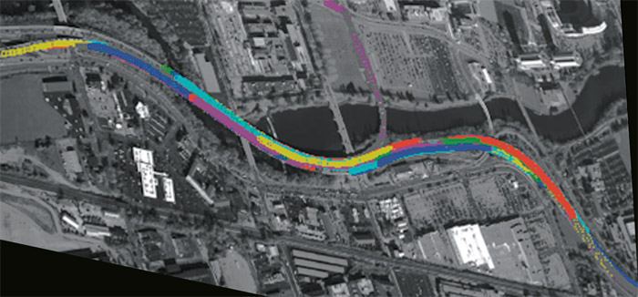 This wide-area surveillance video demonstrates vehicle tracking in a high-density traffic scene.