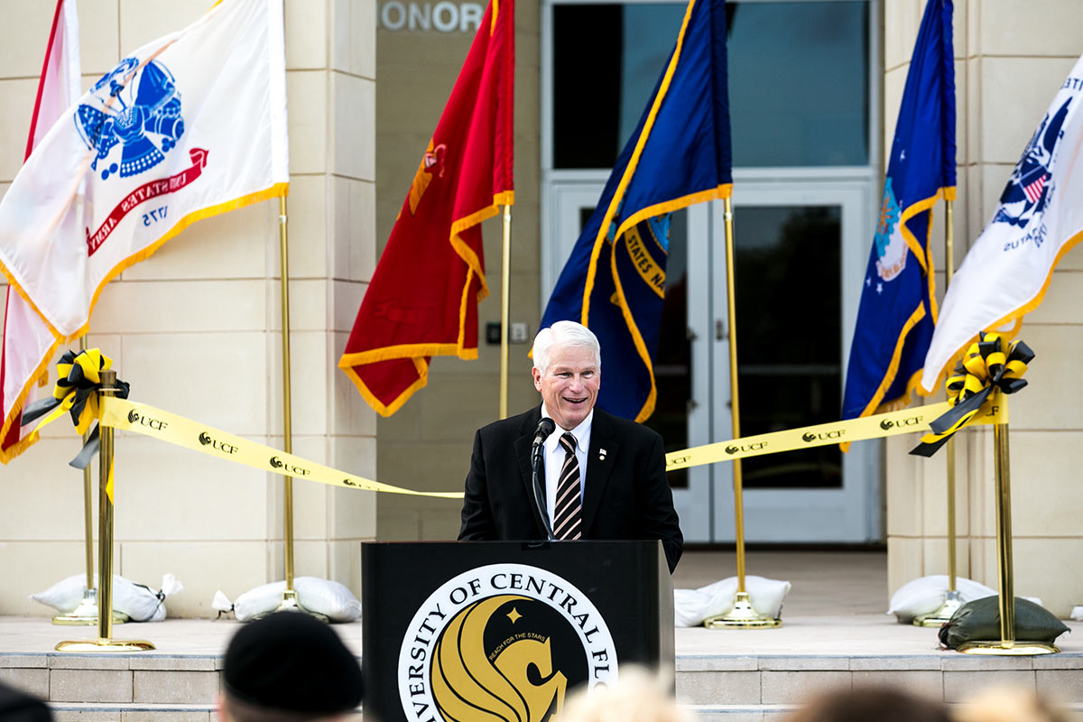 President Hitt addresses audience at the Classroom II opening ceremony