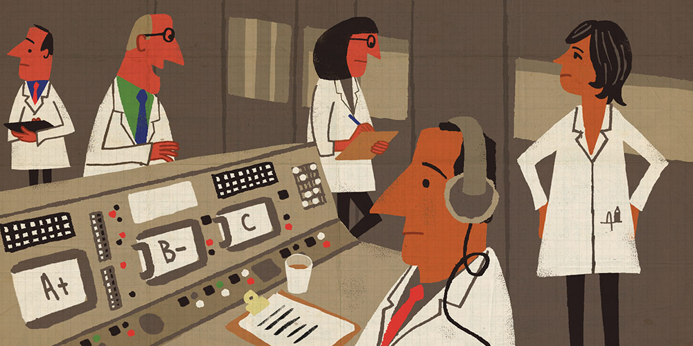 Paul Thurlby illustration of technicians in mission control room, monitoring student progress.