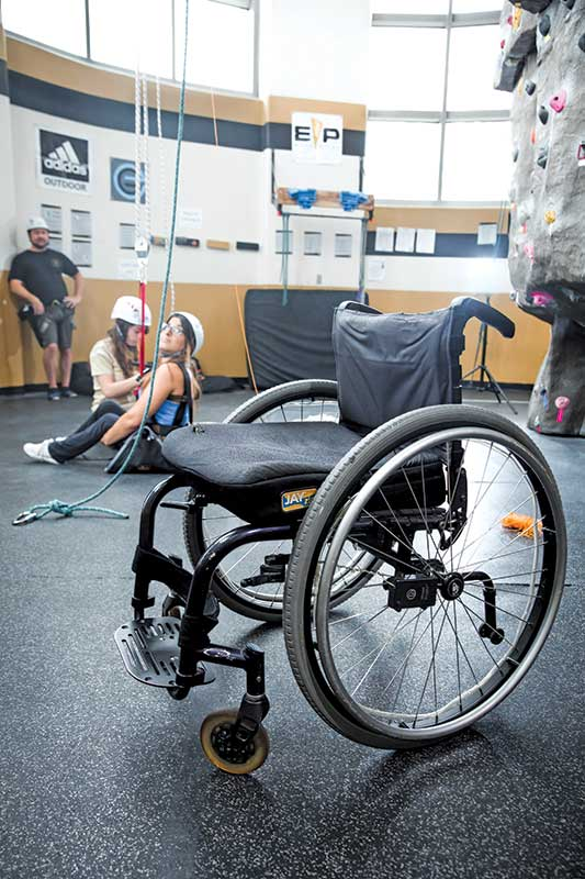 Wheelchair in foreground