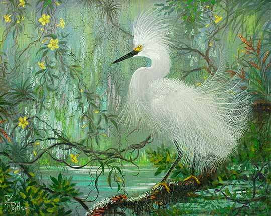 Painting of Egret by Joy Postle