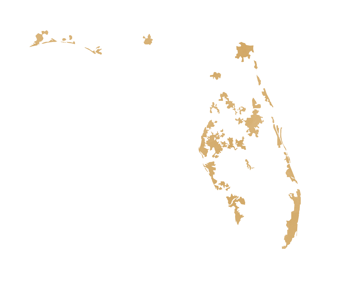 Florida map displaying urban areas
