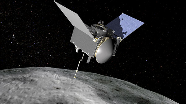 Artist's rendering of the OSIRIS-REx spacecraft as it approaches the asteroid Bennu.