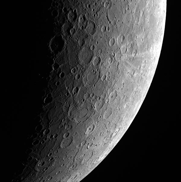 Image of Mercury, acquired by the Mercury Dual Imaging System (MDIS) aboard NASA's MESSENGER mission on April 23, 2013
