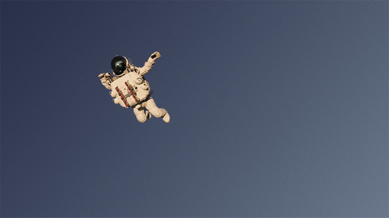 Alan Eustance in custom made space suit during record breaking jump