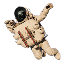 Alan Eustance in custom made space suit during record breaking jump with clouds animated in the background