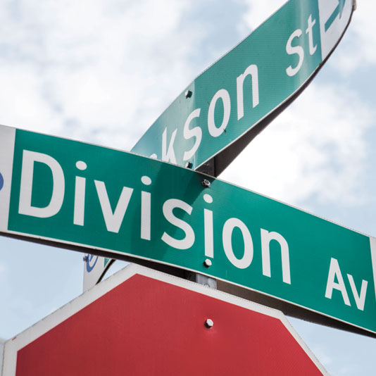 Street sign at Division Ave