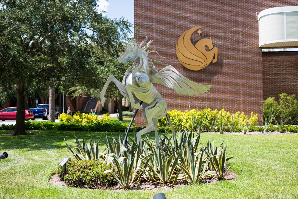 <em>Wind Dancer</em>, a whimsical, marine grade aluminum sculpture spans its wings outside the Burnett Honors College and is the only statue on campus depicting Pegasus, UCF's official logo. With the help of <strong>Jeff Douglass '02</strong>, UCF acquired the piece created by <strong>Mindy Colton '96MA</strong>. In the fall of 2015, a group of engineering students used the Manufacturing Lab at the College of Engineering and Computer Science, which is the same lab Limbitless Solutions uses to create 3D printed arms for children, to repair the structure after it was vandalized.