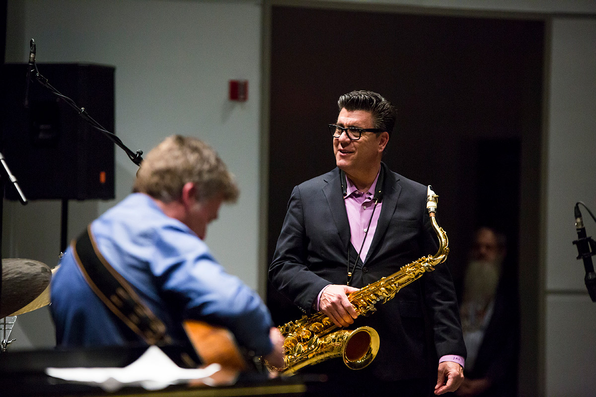 UCF Professor Jeff Rupert plays the saxophone.