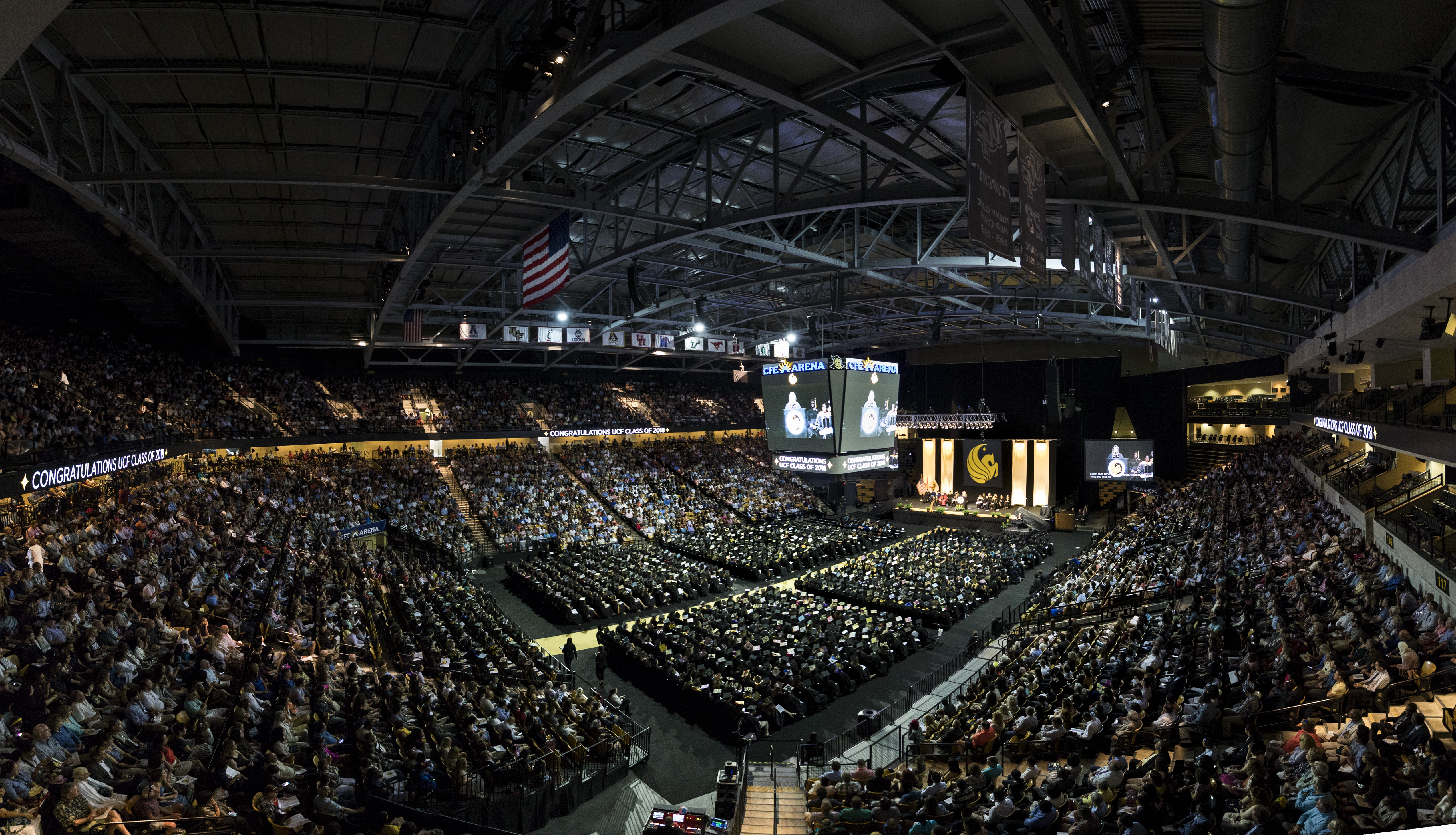 A wide shot displays the crowded CFE Arena.
