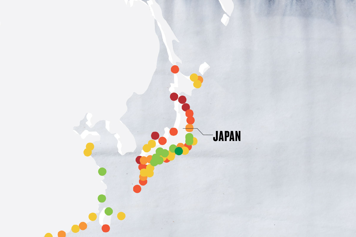 greyscale map with colorful dots marking important points, with the main point marked as JAPAN