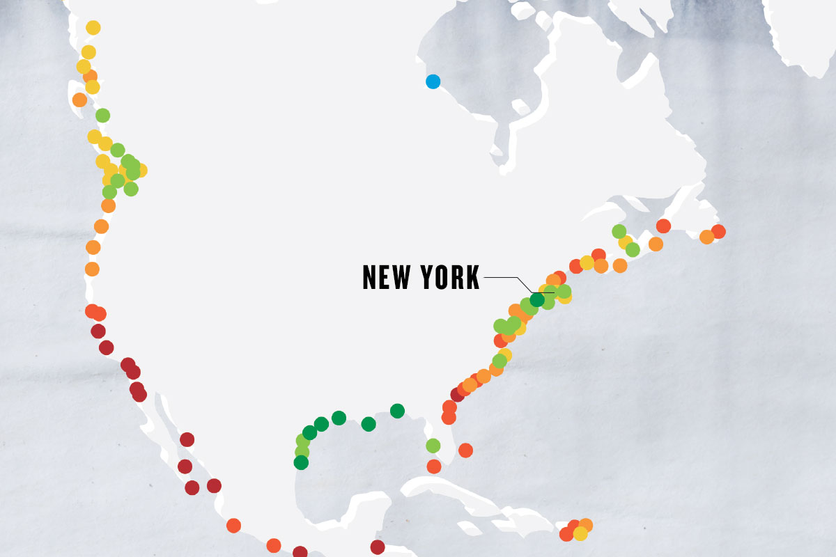 greyscale map with colorful dots marking important points, with the main point marked as NEW YORK