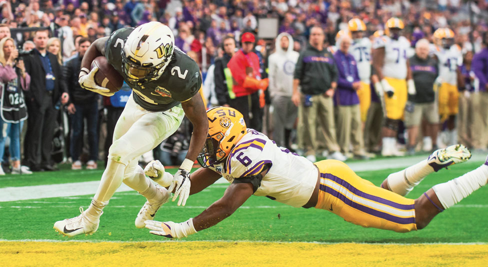 ucf running back Otis Anderson scores a touchdown against lsu