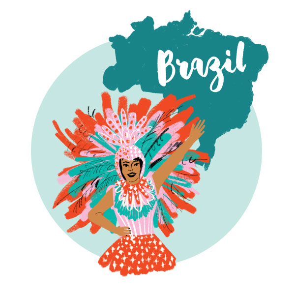 An illustration of Brazil with a female Carnival dancer.