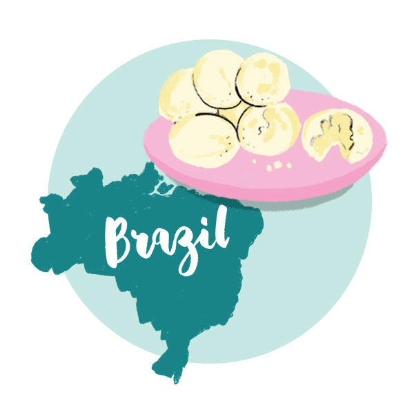 An illustration of Brazil with a plate of bread.