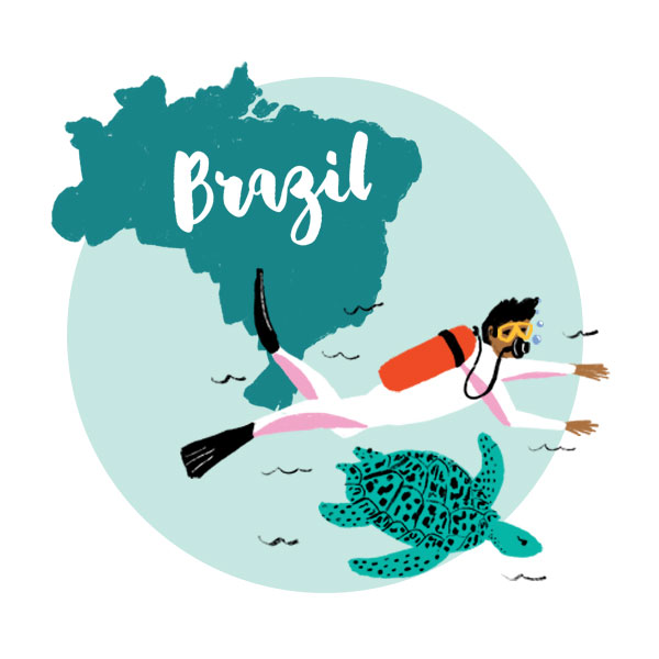An illustration of Brazil with a turtle and a man scuba diving.