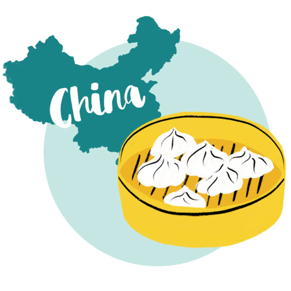An illustration of China and steamed dumplings.