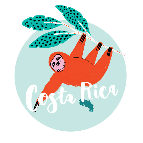 An illustration of Costa Rica and a sloth