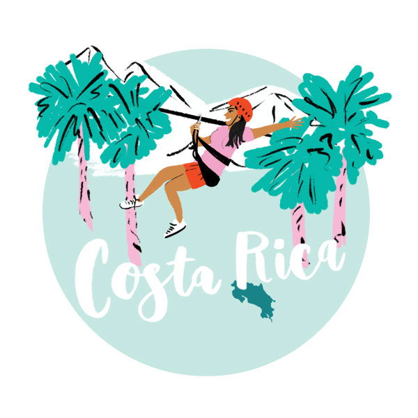 An illustration of Costa Rica with a woman zip lining