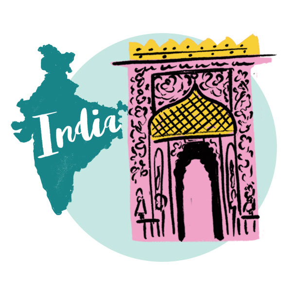 An illustration of India and a decorative entrance.