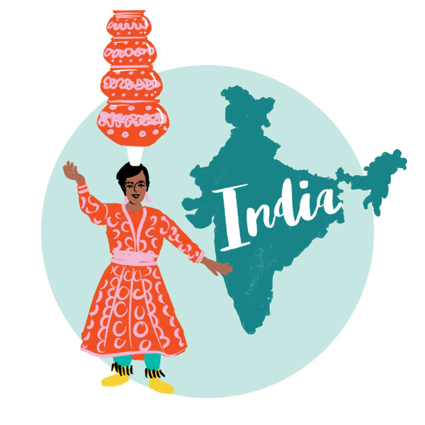 An illustration of India and a woman balancing objects on her head.