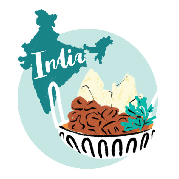 An illustration of India and a bowl of food.