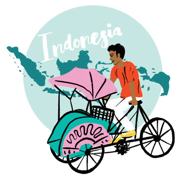 An illustration of Indonesia and a man riding a rickshaw .