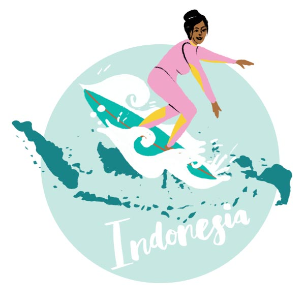 An illustration of Indonesia and a woman surfing.