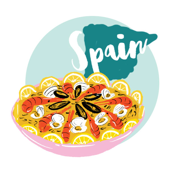 An illustration of Spain and a plate of food.