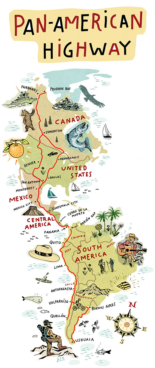 An illustration of the Pan-American highway