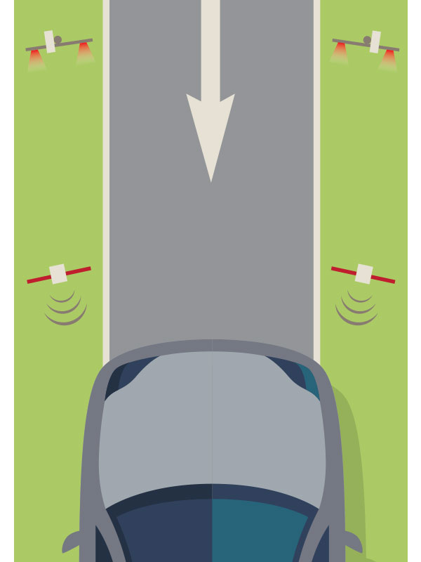 An illustration of a car driving in the wrong direction and red lights flashing