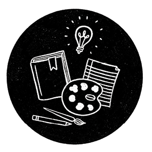 An illustration of a lightbulb, painters palette, paintbrush, book, paper, and pencil