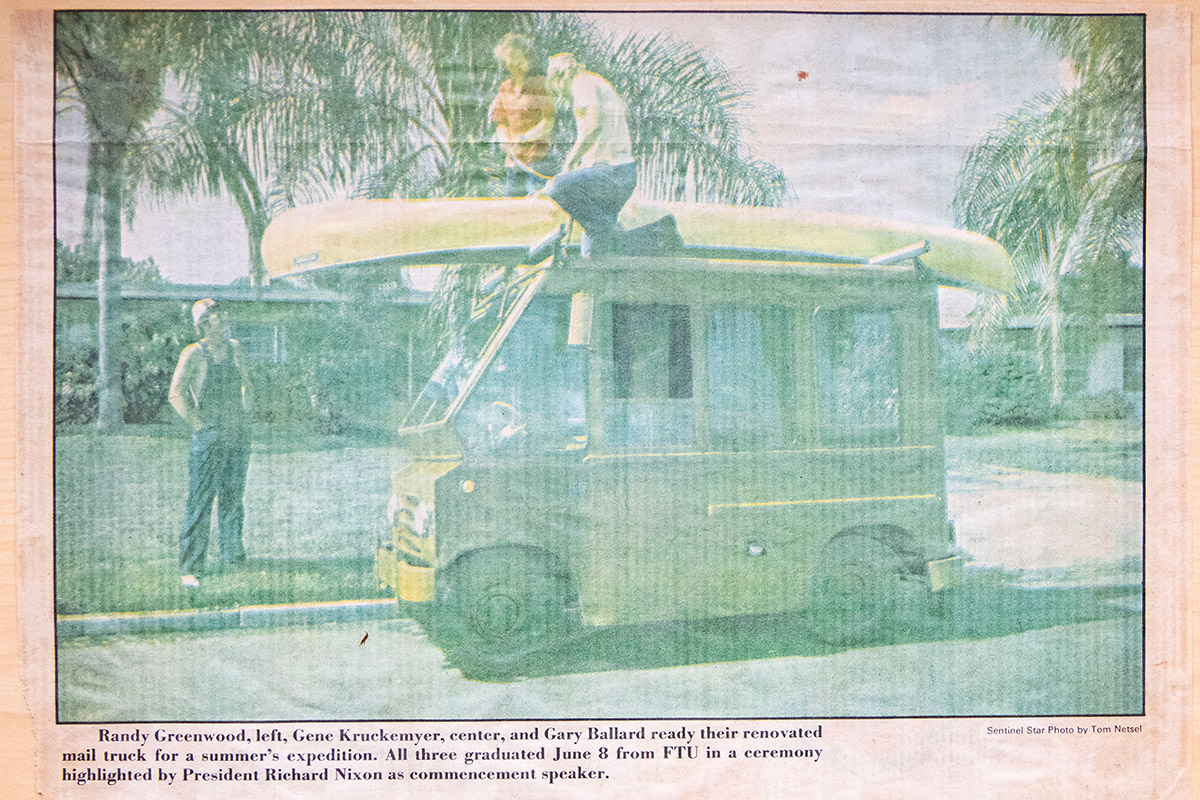 </p> <div>An <em>Orlando Sentinel </em>news clipping that featured Kruckemyer and two fellow Knights who traveled the country in a renovated mail truck for a summer.</div> <p>