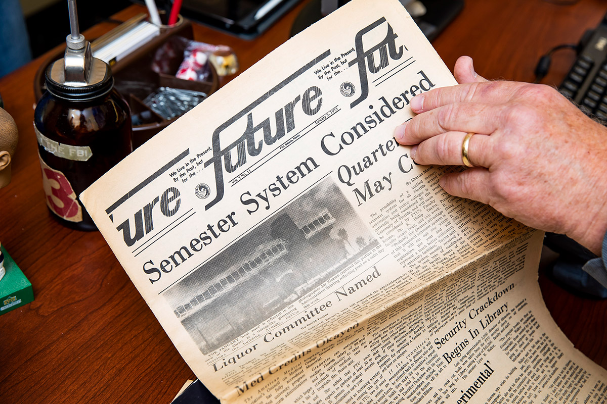 An old issue of the student-run campus newspaper, the Future, which published for 48 years until 2016.