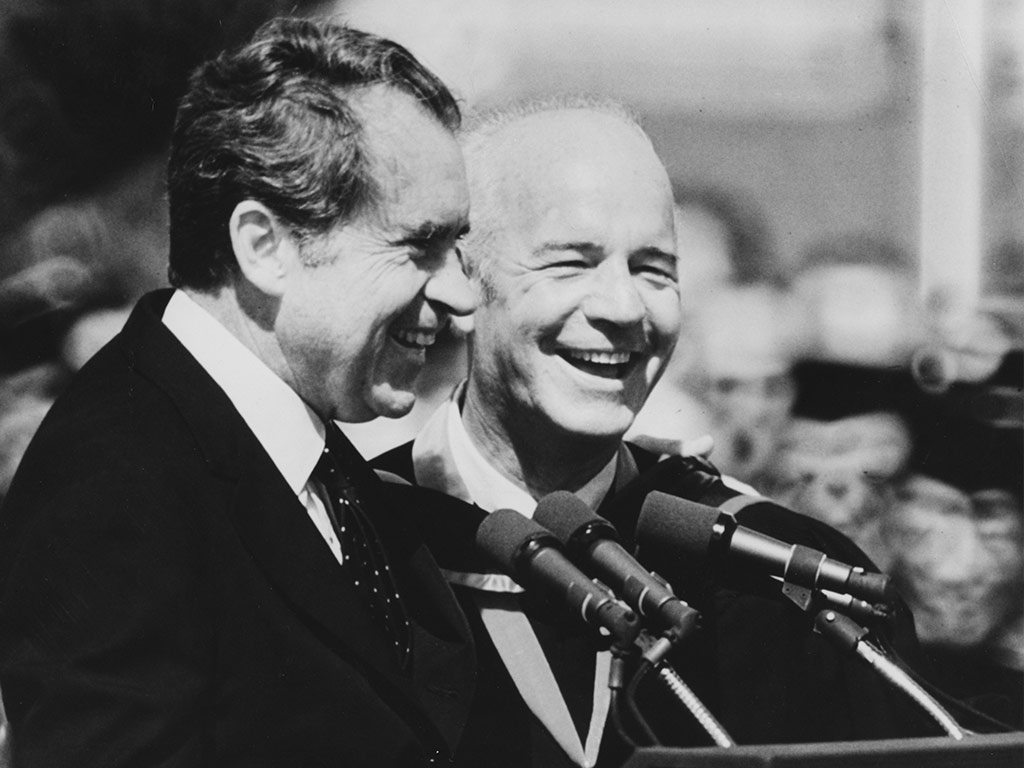 President Richard Nixon and UCF's first president Charles Millican at the university's 1973 commencement.