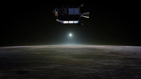 Artist's concept of NASA's Lunar Atmosphere and Dust Environment Explorer spacecraft in orbit above the moon