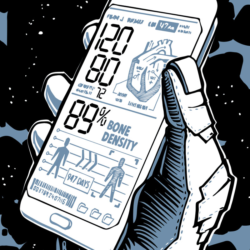 Illustration of smartphone health app