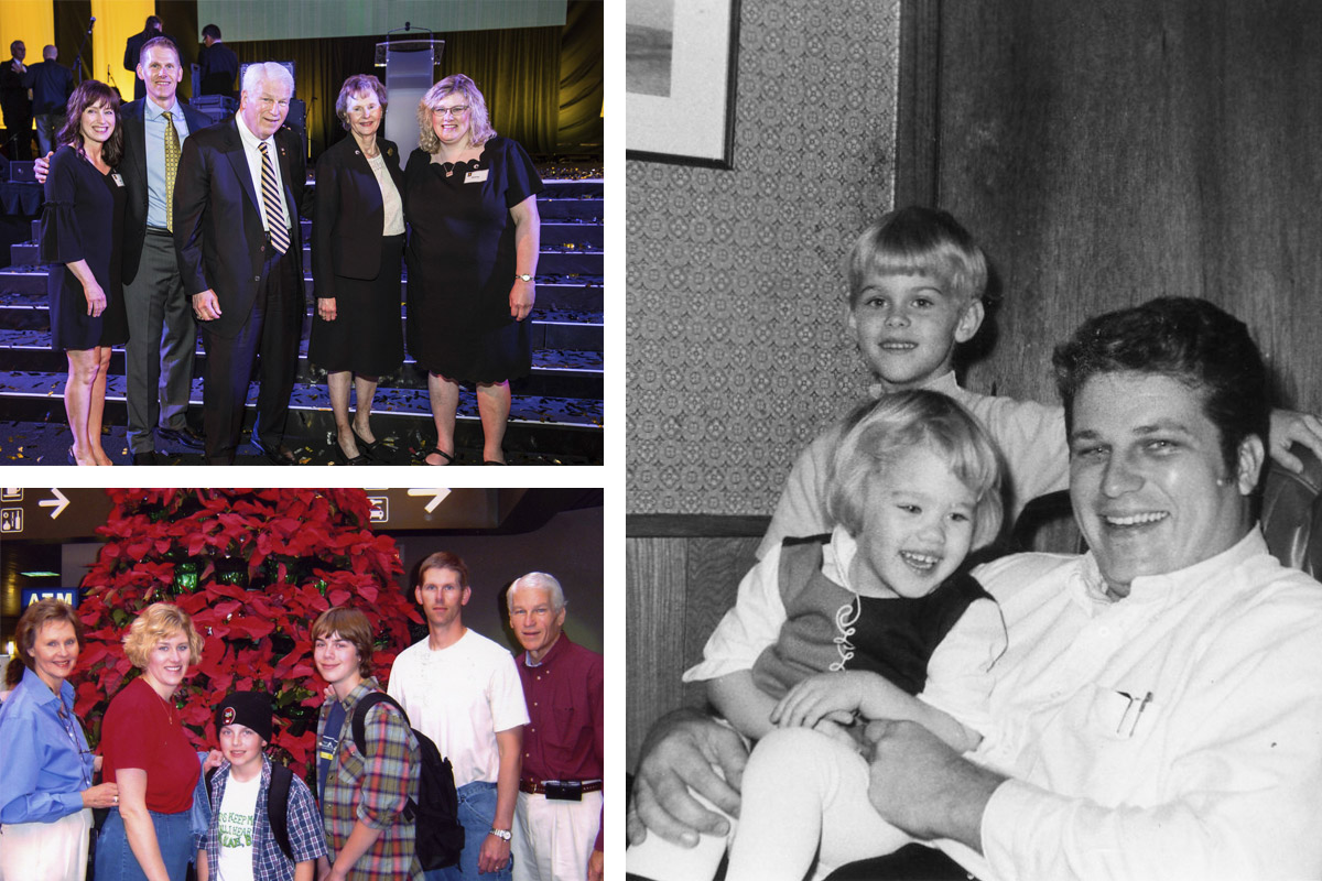 A collage of photos of Hitt with his family over the years.