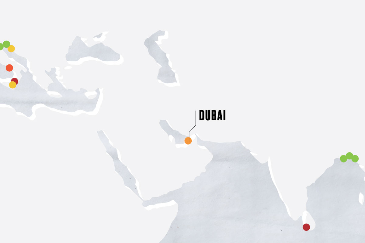 greyscale map with colorful dots marking cities, with the main city marked as DUBAI