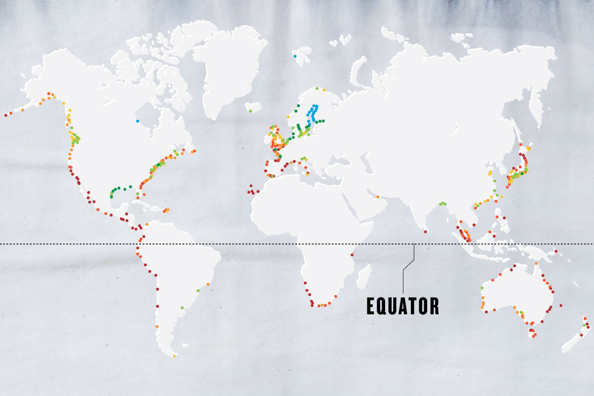 greyscale map of the world with different colored dots marking cities. The Equator is written in black text pointing to a black dotted line, which indicates the Equator
