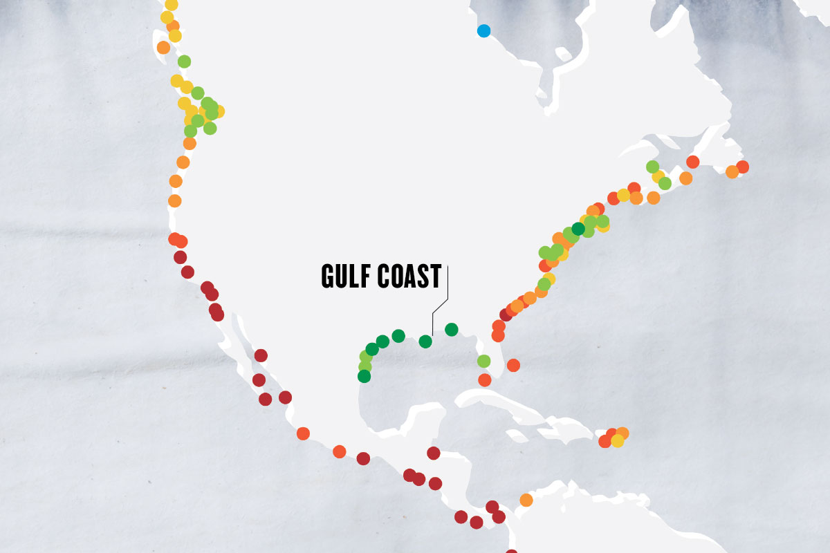 greyscale map with colorful dots marking important points, with the main point marked as GULF COAST