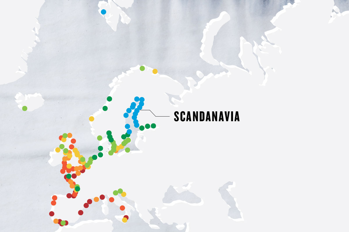 greyscale map with colorful dots marking important points, with the main point marked as SCANDANAVIA