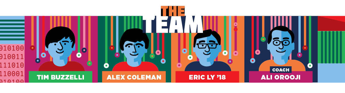 Image with the words 'The Team' and illustrated portraits of Tim Buzzelli, Alex Coleman, Eric Ly '18, and Ali Oroogi
