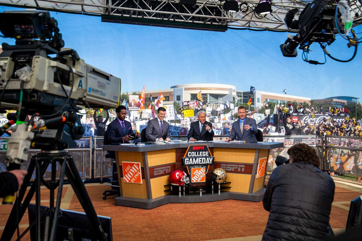 Anchors of College GameDay on set