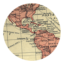 A circle cutout that shows a map of Central America