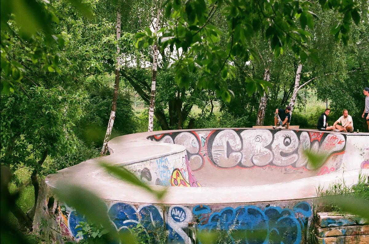 A graffiti concrete BMX bowl.