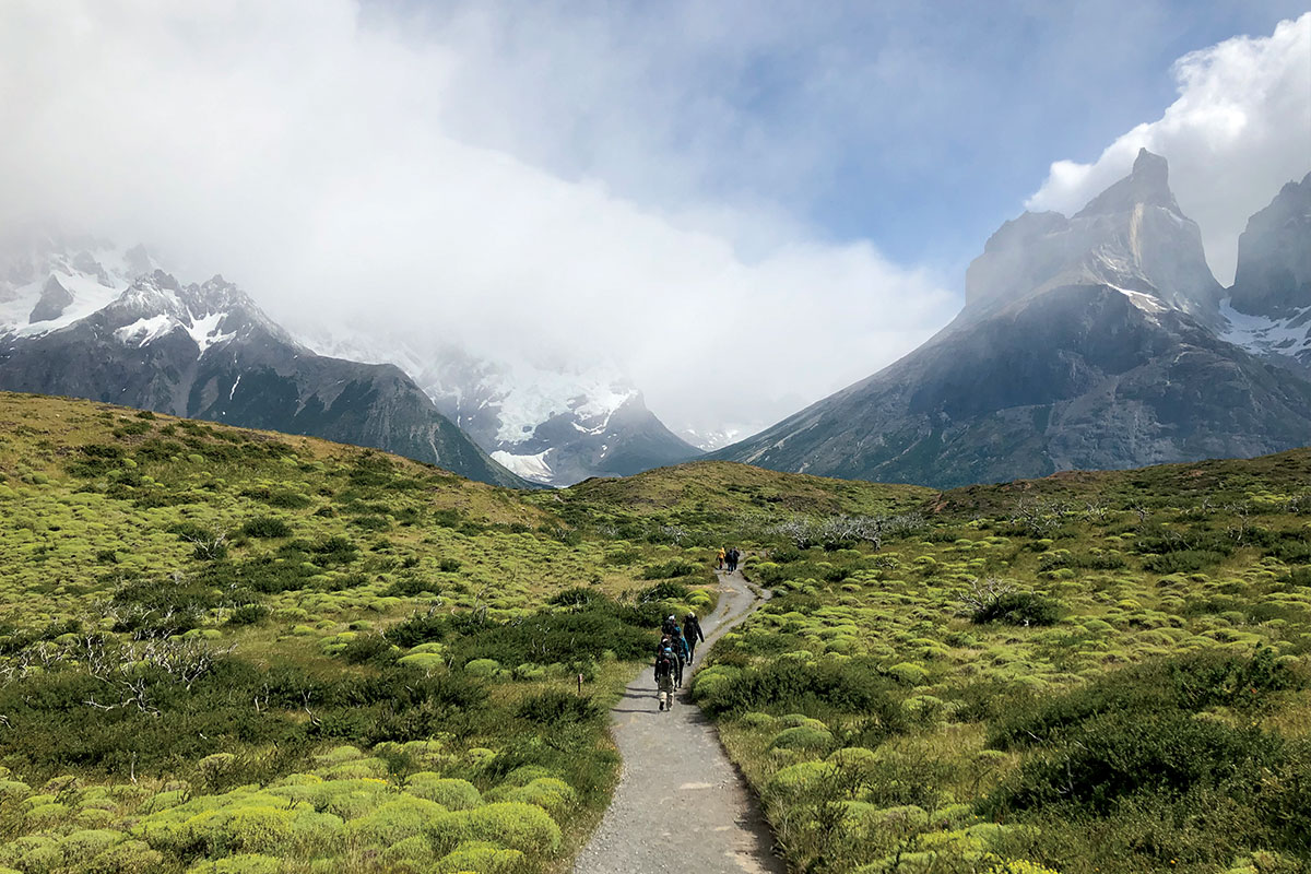 A trail leading into a mountainous area.
