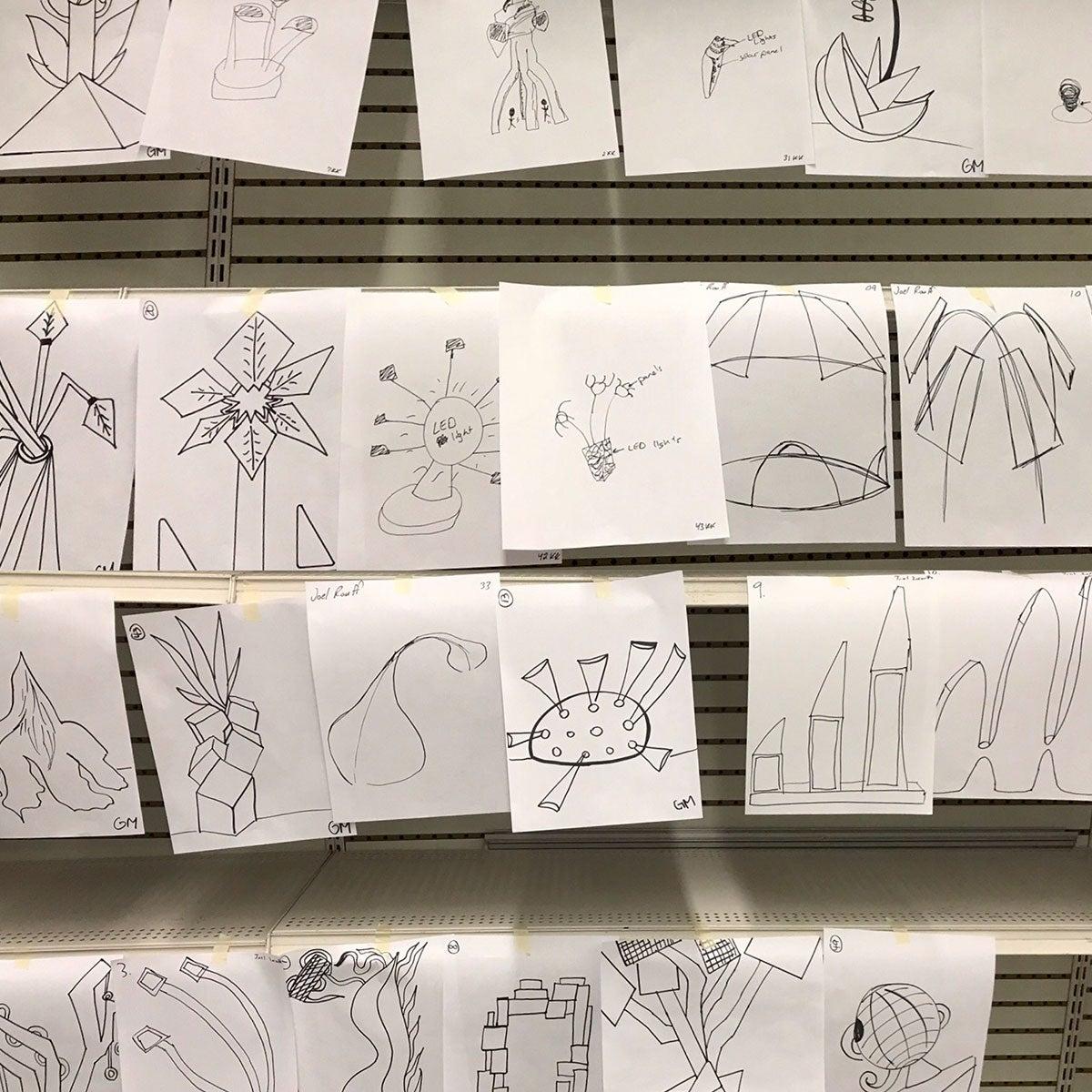 Drawings of sculpture designs.