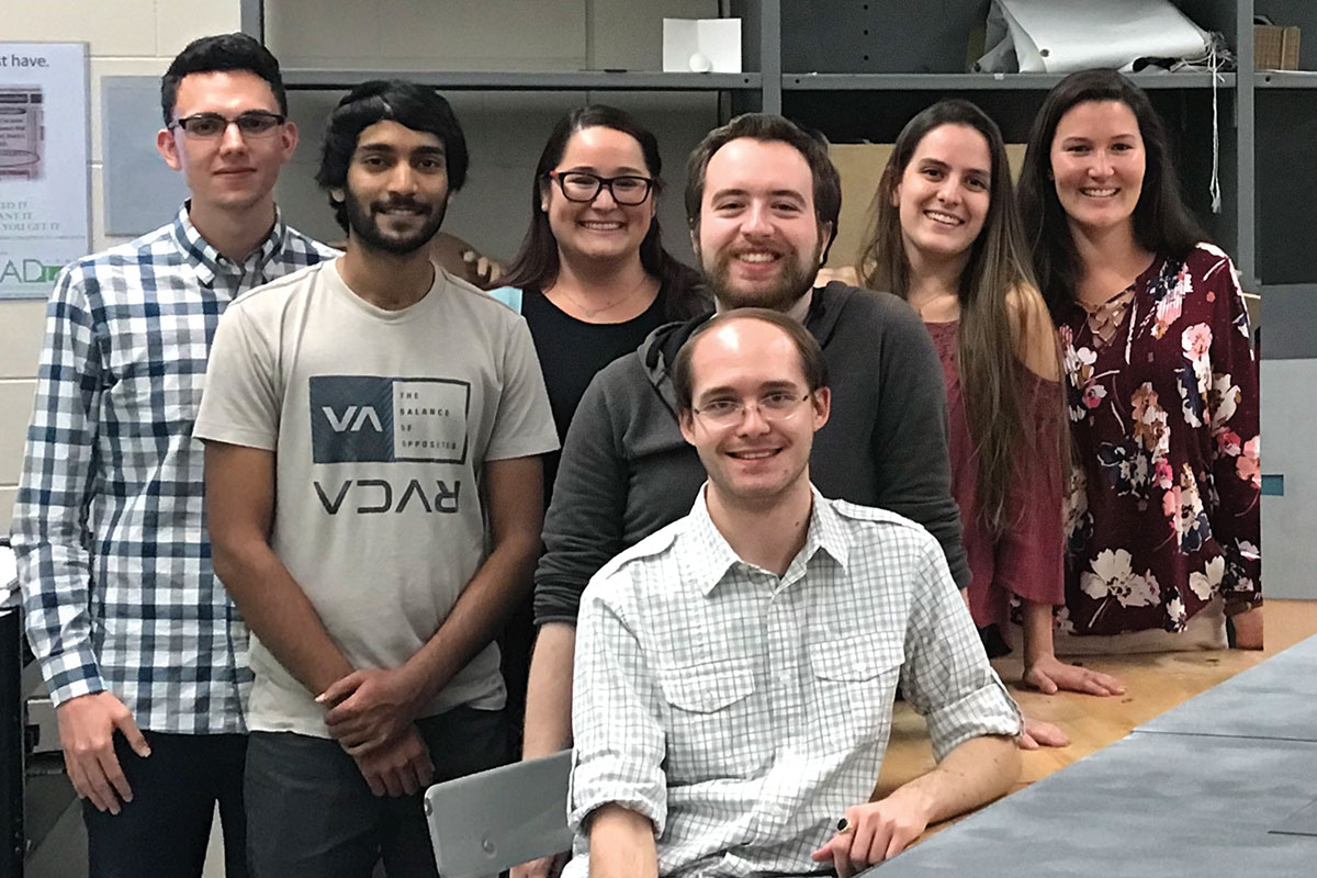 """Students who worked to create """"Gyration"""" included (from left to right): <strong>James Exum '18</strong>, <strong>Ramin Ragbir '18</strong>, <strong>Gabriella Mancini '18,</strong> <strong>Joel Zorowitz '20</strong>, <strong>Kealey Keepers '18</strong>, <strong>Erin Dudley '18 </strong>and (front) <strong>Joel Rouff</strong> <strong>'18</strong>."""