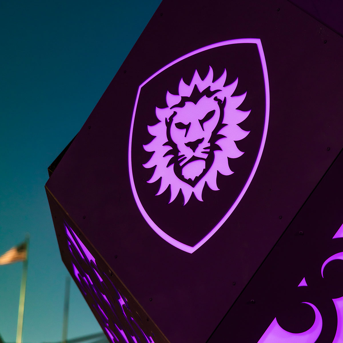 A light up panel on the solar sculpture that features the Orlando City logo.